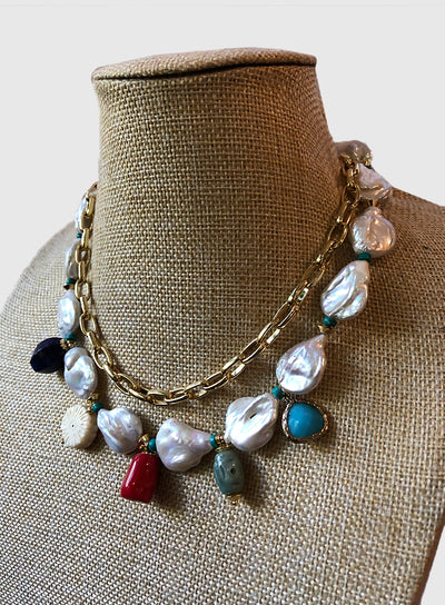 AMAVI DOUBLE STRAND CHUNKY BAROQUE PEARL CHARM NECKLACE