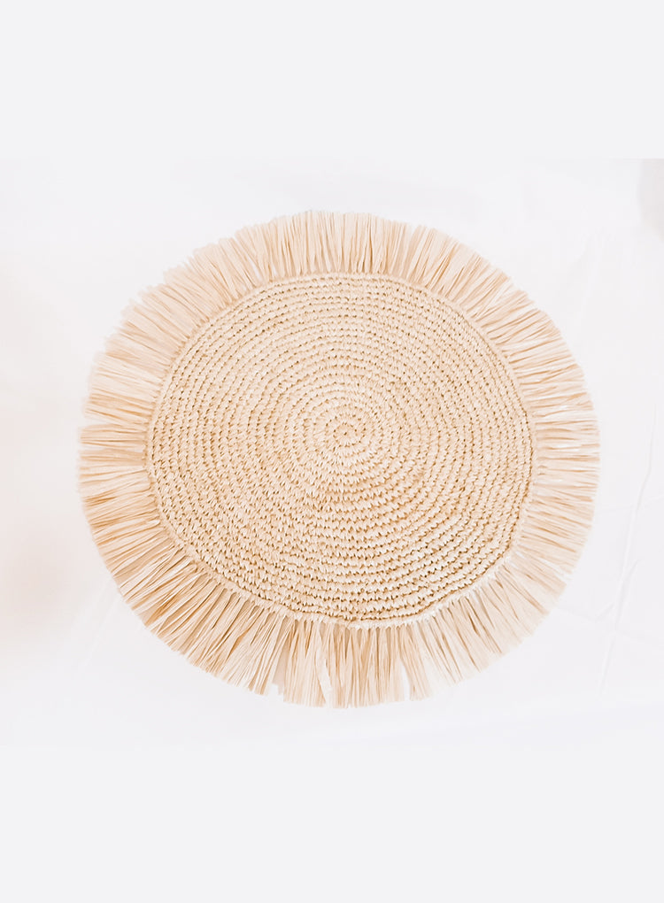 TAHANAN FURNITURE RAFFIA FRINGE ROUND PLACEMAT