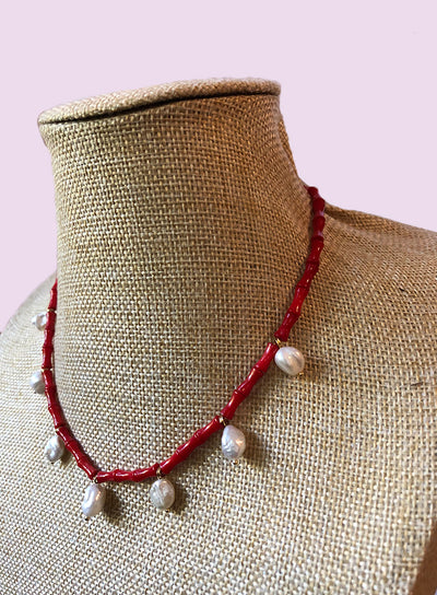 AMAVI RED BAMBOO CORAL CHARM NECKLACE