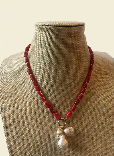 AMAVI RED CORAL WITH FRESHWATER PEARL CLUSTER NECKLACE