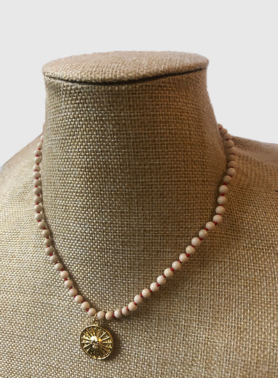 AMAVI 4MM RIVERSTONE WITH RED KNOTTING NECKLACE