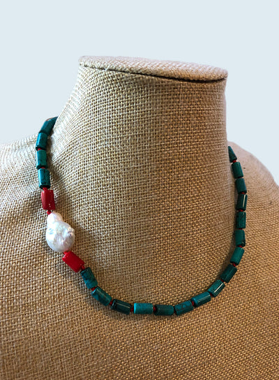 AMAVI TURQUOISE RED KNOT CHOKER WITH RED CORAL AND BAROQUE PEARL ACCENT