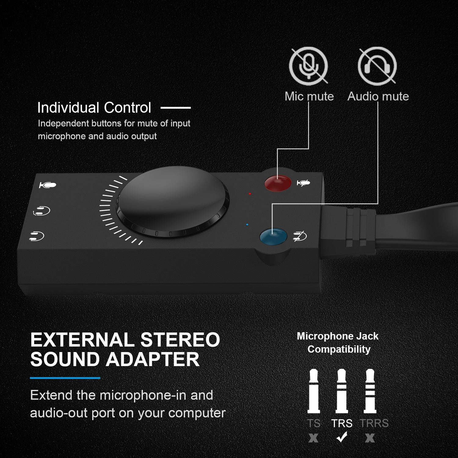 TechRise USB Sound Card Adapter Splitter Converter with Volume Control