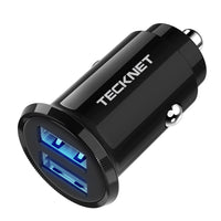 TECKNET Car Charger, Mini USB PowerDash 4.8A/24W 2-Port Rapid Car Charger with BLUETEK Smart Charging Technology Compatible with iPhone, iPad, Samsung, HTC, Blackberry, Huawei, Android and More