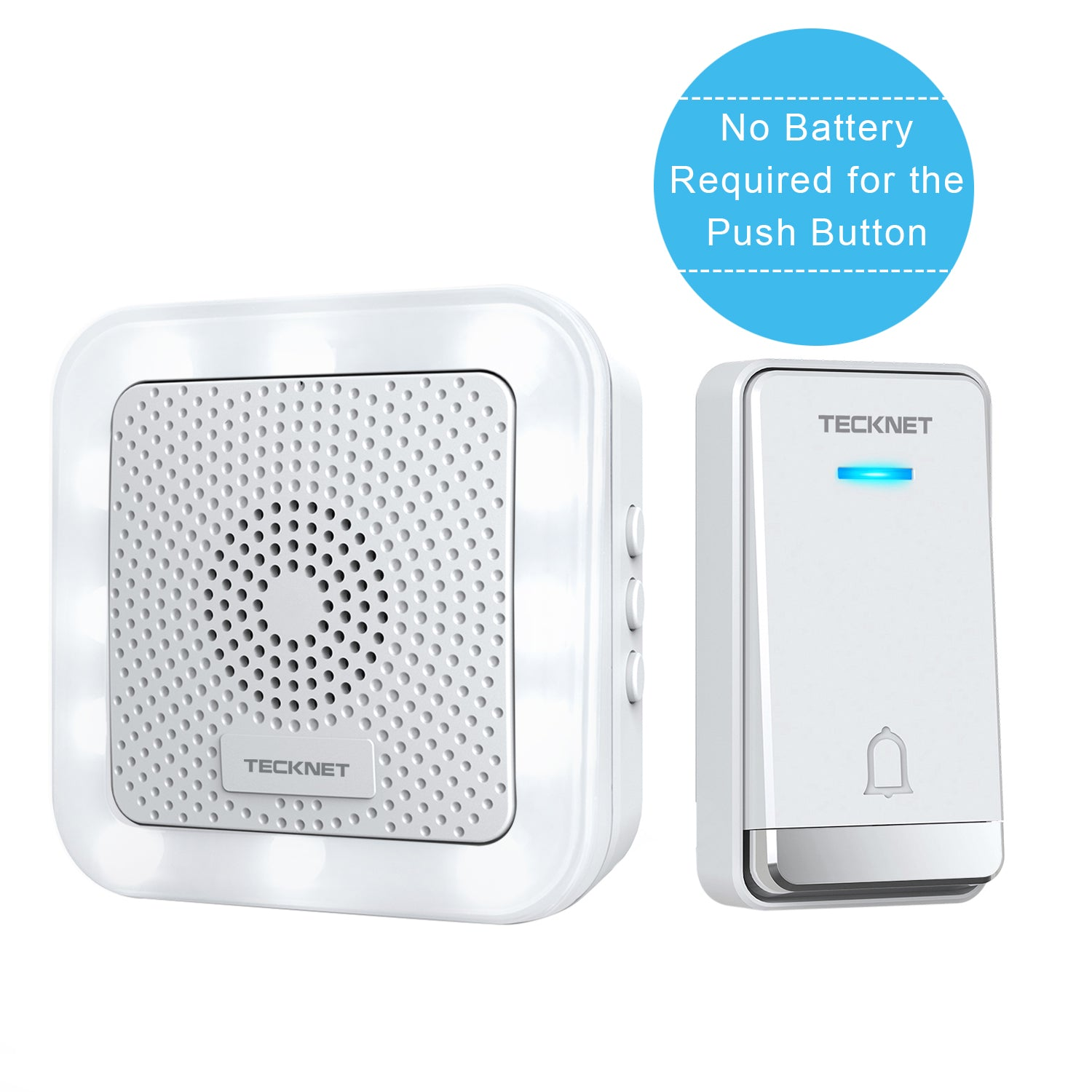 TECKNET LED Night Light Wall Plug-in Cordless Wireless Doorbell, UK Plug