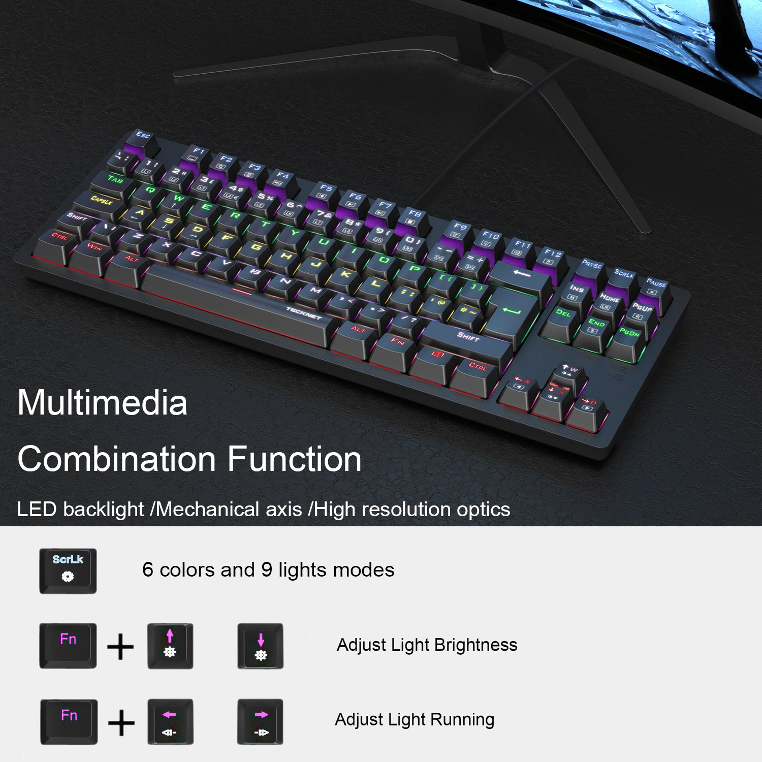 TECKNET Mechanical Gaming Keyboard 88 Keys Full Anti-ghosting Mechanical Keyboard,Customizable LED Backlit Ideal for Gamers and Typists