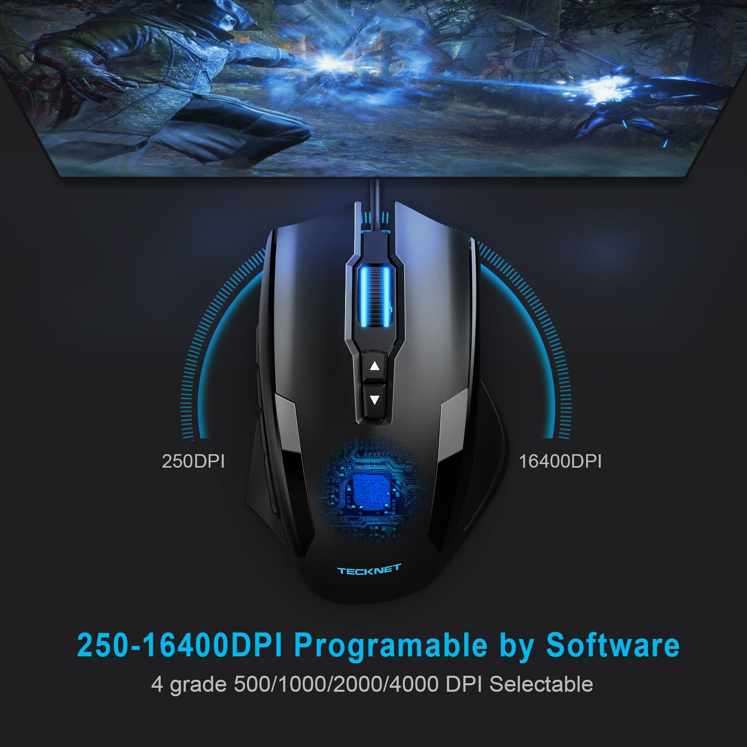 TECKNET 16400 DPI Gaming Mouse Wired LED Backlit Programmable Mice