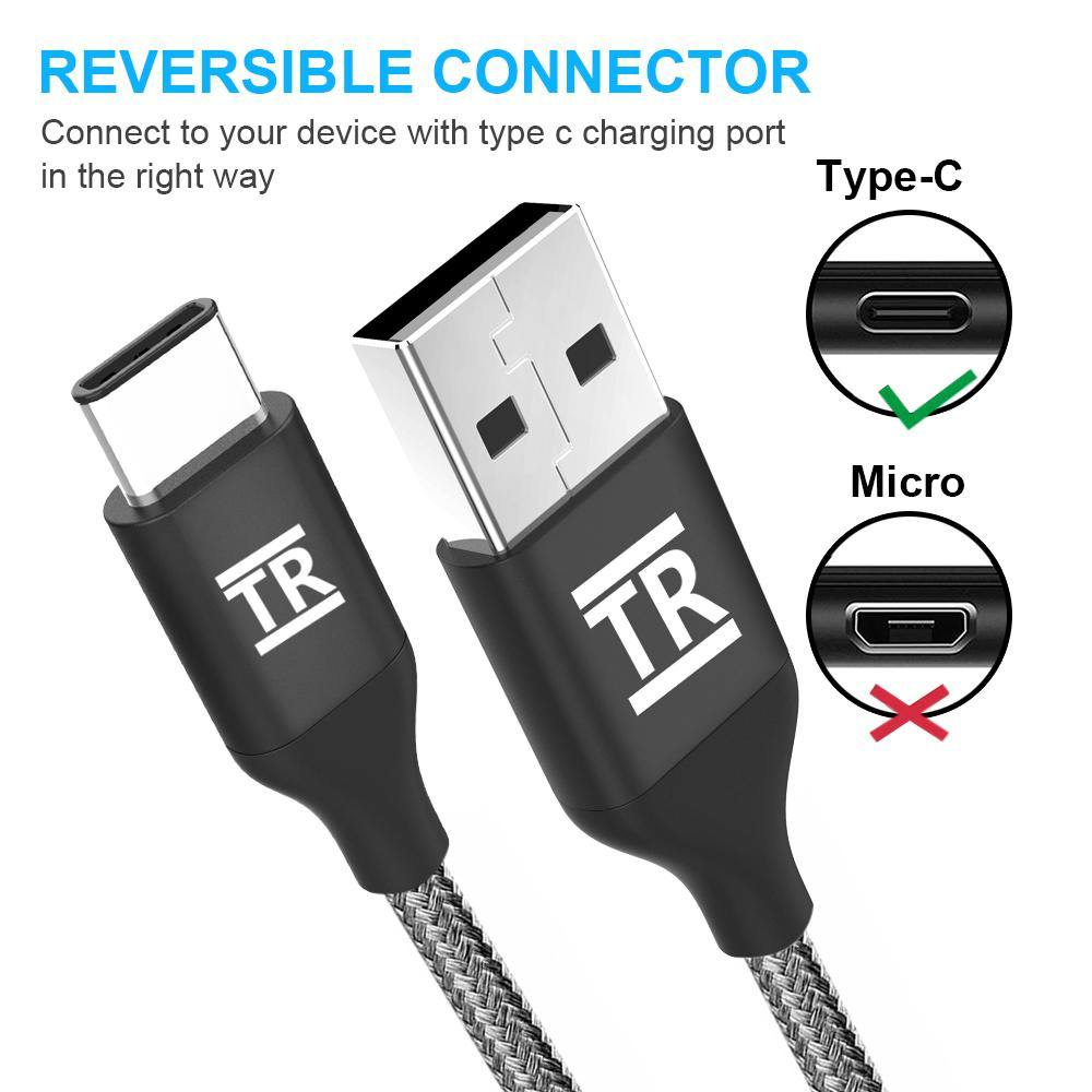 TechRise 3-Pack USB C (2M+1.5M+1M) Fast Charging Nylon Braided Cable
