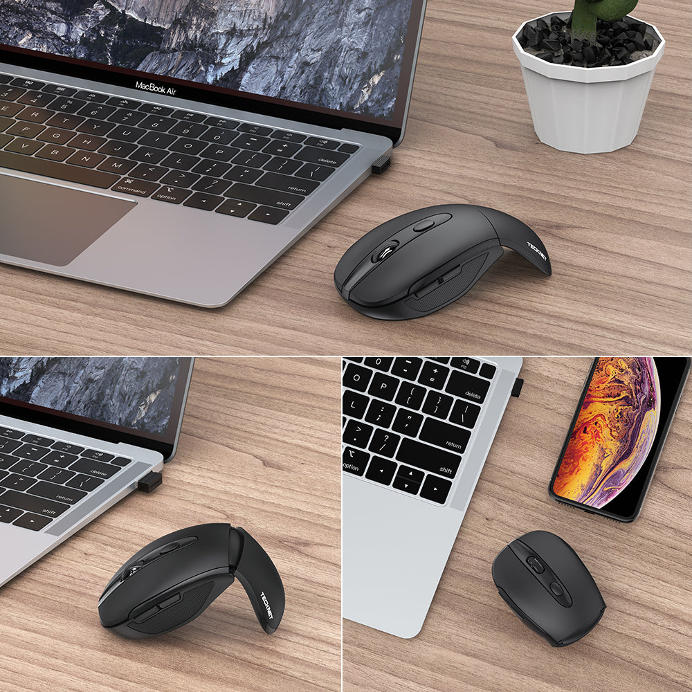 TECKNET Foldable Wireless Mouse, Mini Mouse With USB Receiver