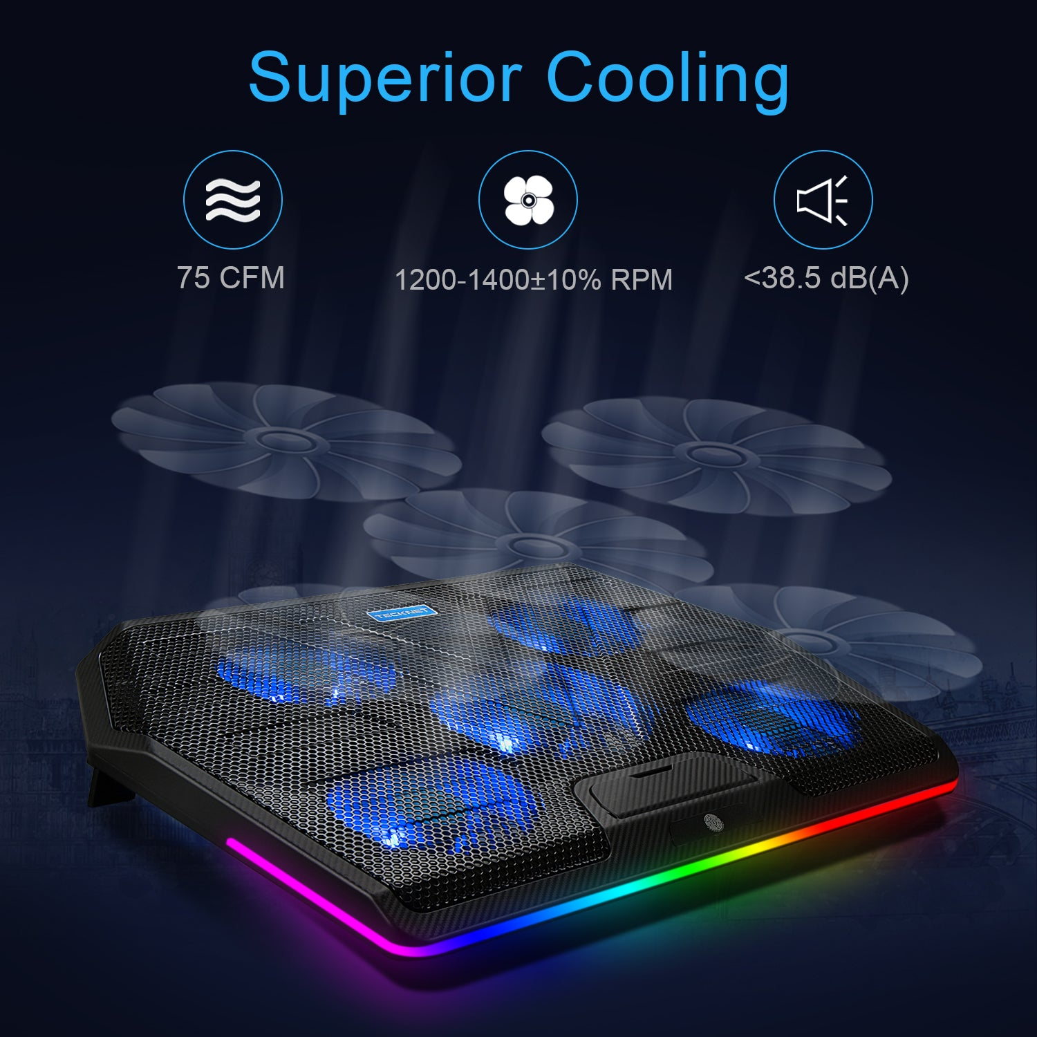 "TECKNET RGB Gaming Cooling Pad With 5 Fans, Fits 12""-19"" laptops"