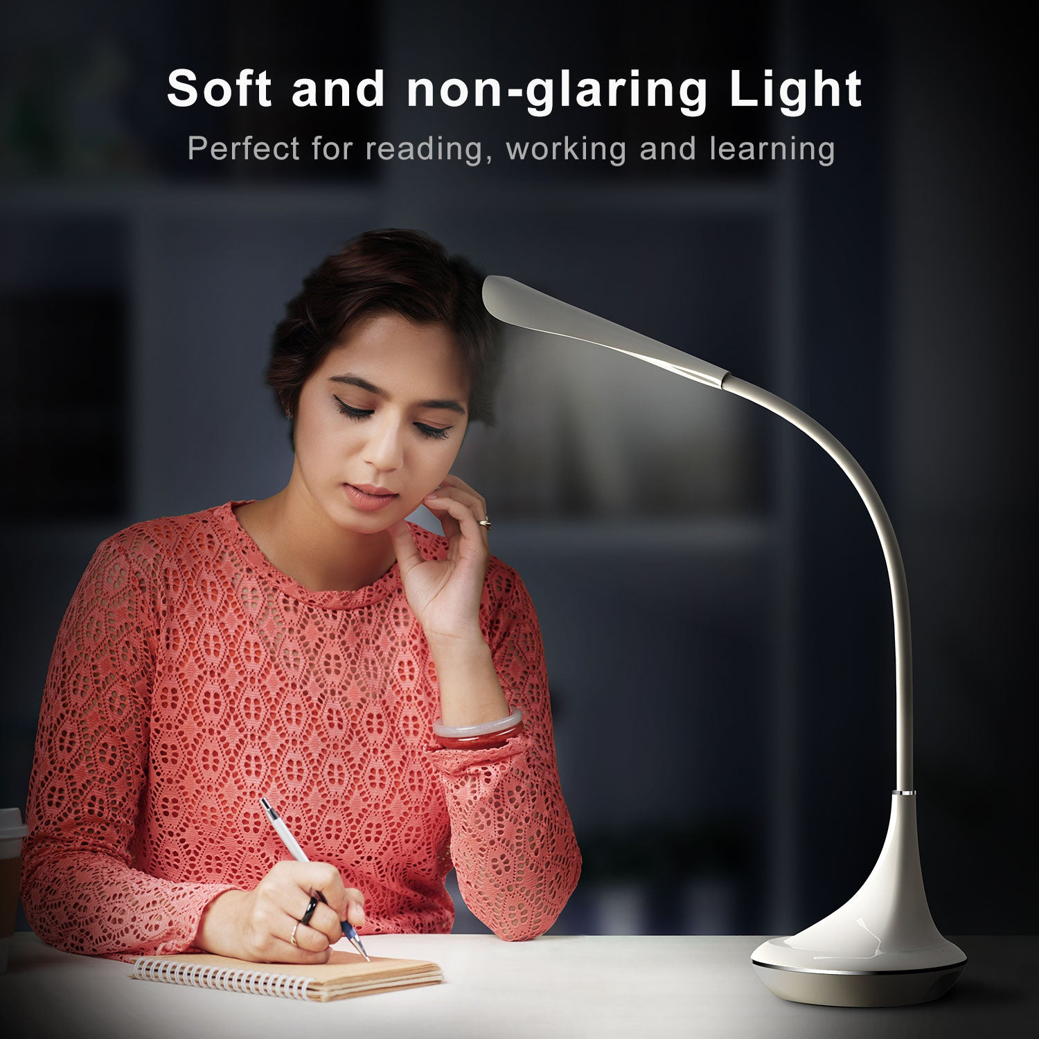 VOXON 4W LED Desk Lamp Stepless Brightness for Home Office Study