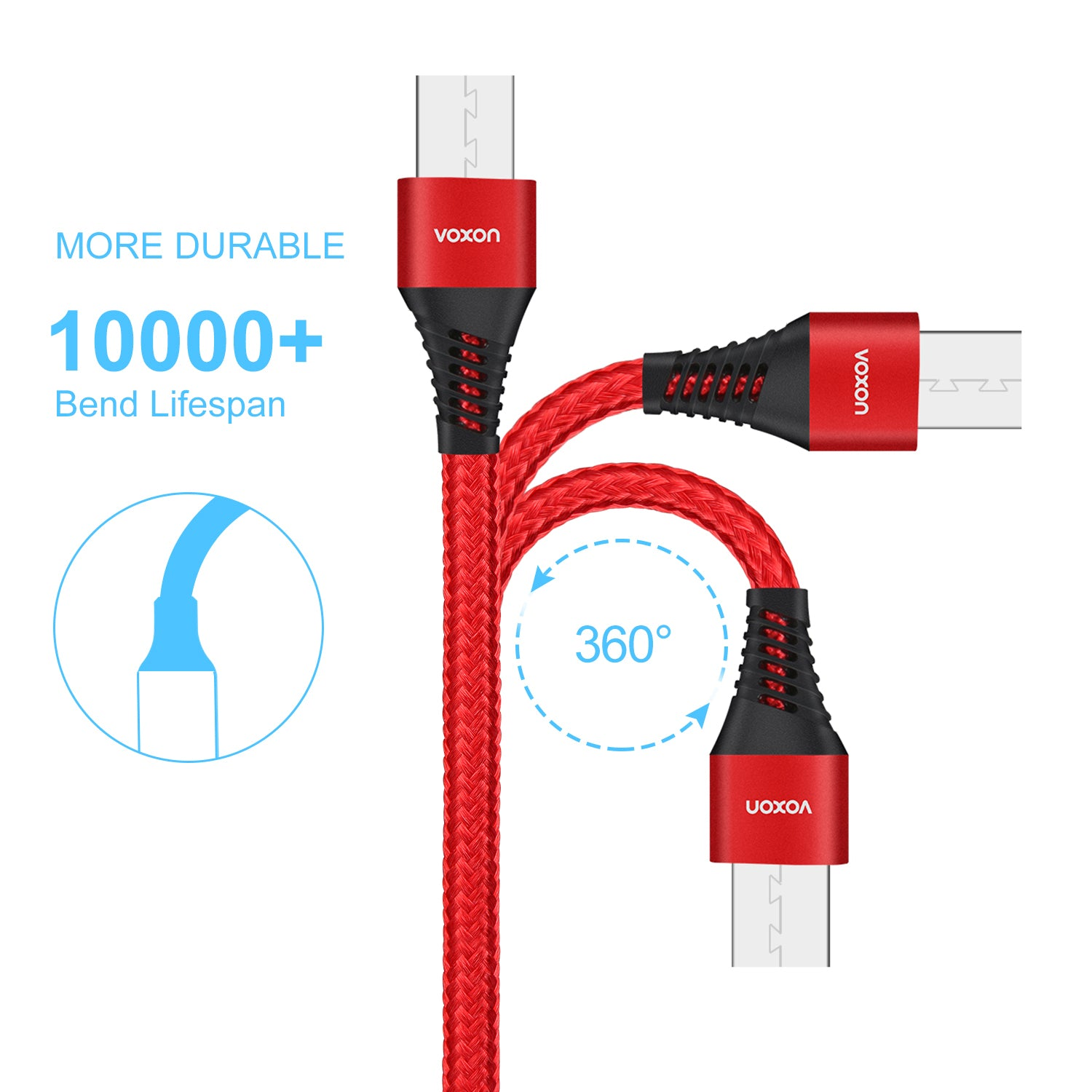 Voxon Micro USB Cable 3 Pack Charging Cable for Android Smartphone