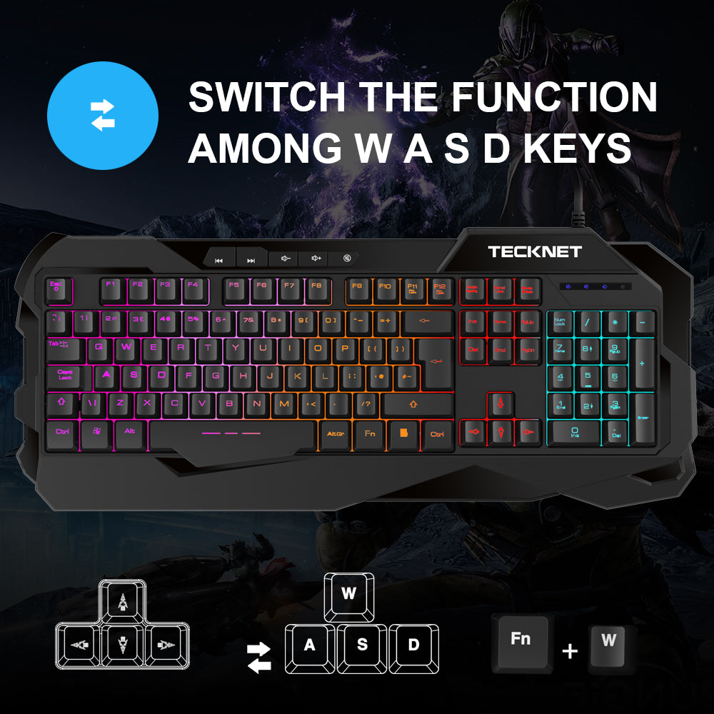 TECKNET Gaming Keyboard with Rainbow LED Backlit Keyboard, UK Layout