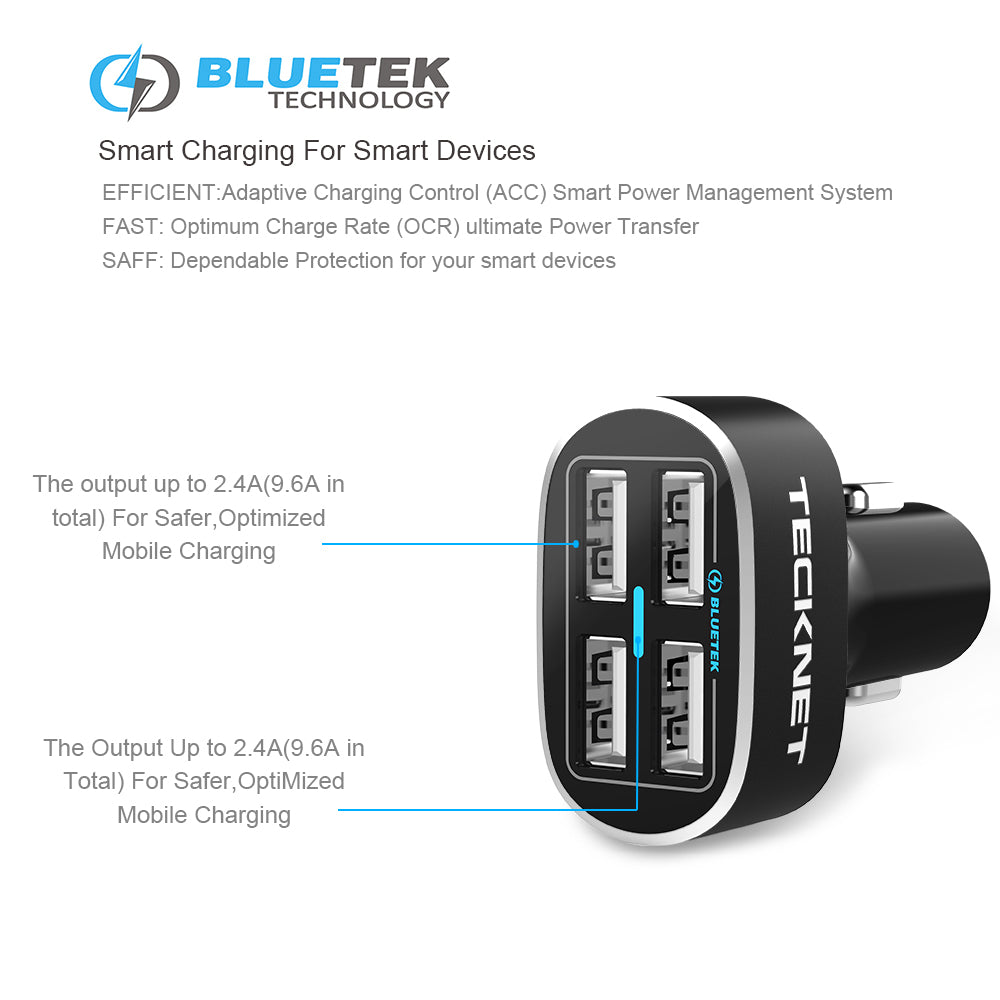 TeckNet Power Dash D2 4 Ports 9.6A/48W Car Charger Plug