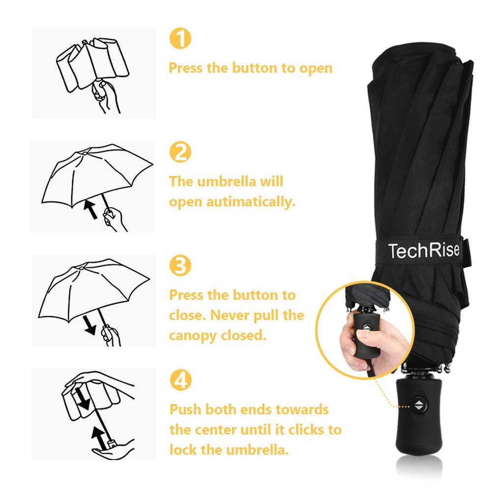 Techrise Windproof Automatic Folding Travel Umbrella Auto Open and Close