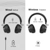 TECKNET Bluetooth Headphones, Wireless Over Ear Hi-Fi Stereo Headset Earphones With Noise Cancelling Microphone For Hands-Free Calling and Wired Mode for Cell Phones/TV PC - Black