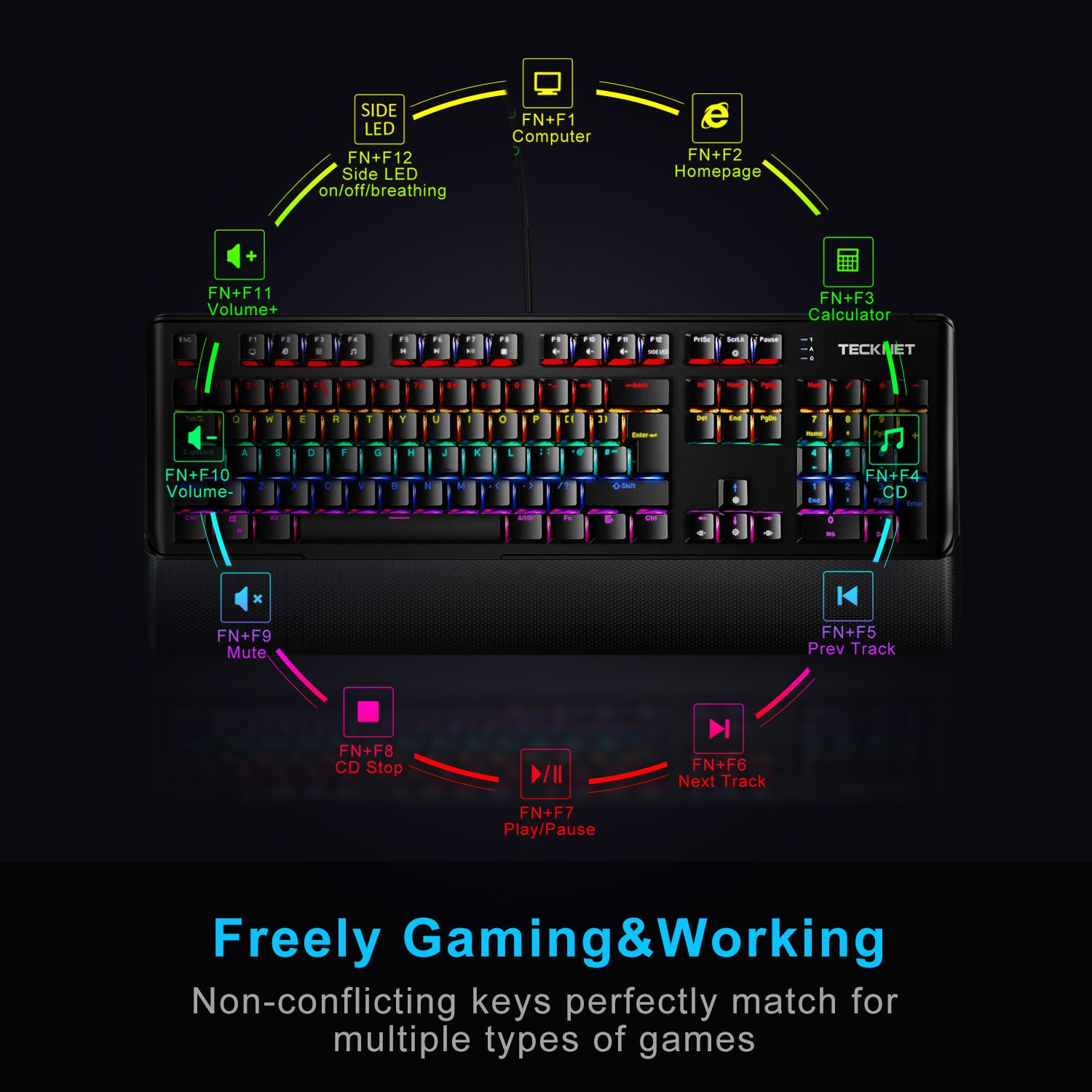 TECKNET Mechanical Gaming Keyboard with Rainbow LED, UK Layout