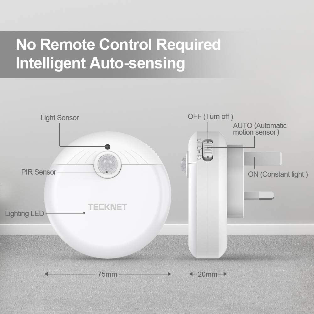 TeckNet 3 Pack Plug and Play Automatic Wall Lights LED Night Light