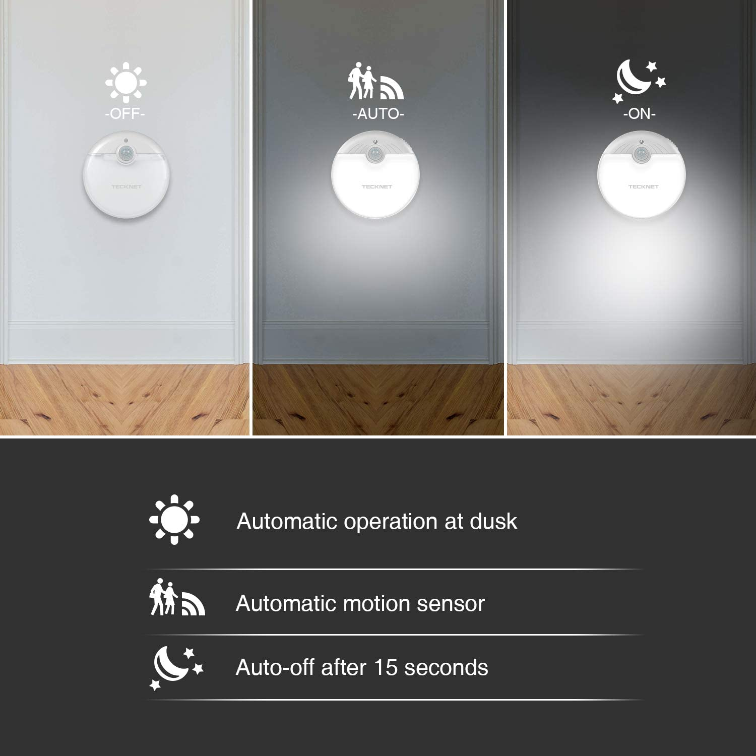 TeckNet (3 Pack) Battery Operated LED Night Light
