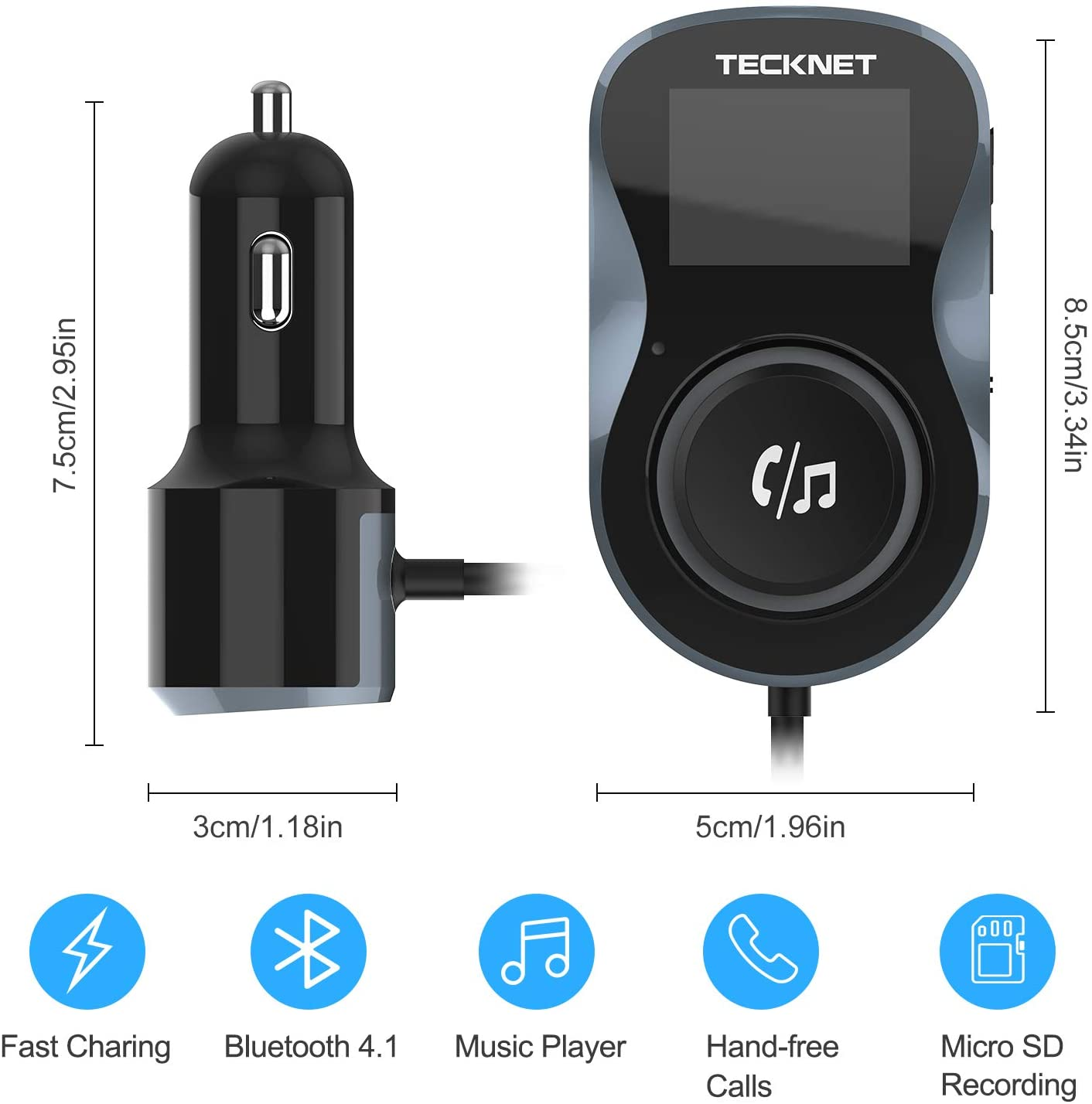TeckNet Car Bluetooth Wireless FM Transmitter MP3 Player Radio Adapter