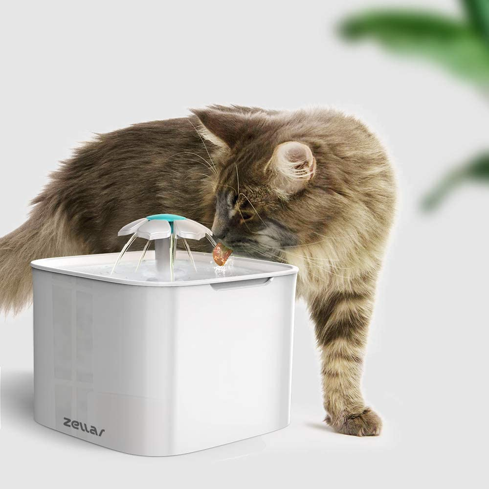 Zellar Pet Water Drinking Fountain Flower Waterfall Dispenser for Cats