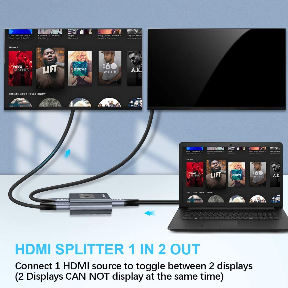 TECKNET HDMI Switch Splitter 1 in 2/2 in 1 Out Manual HDMI Switcher