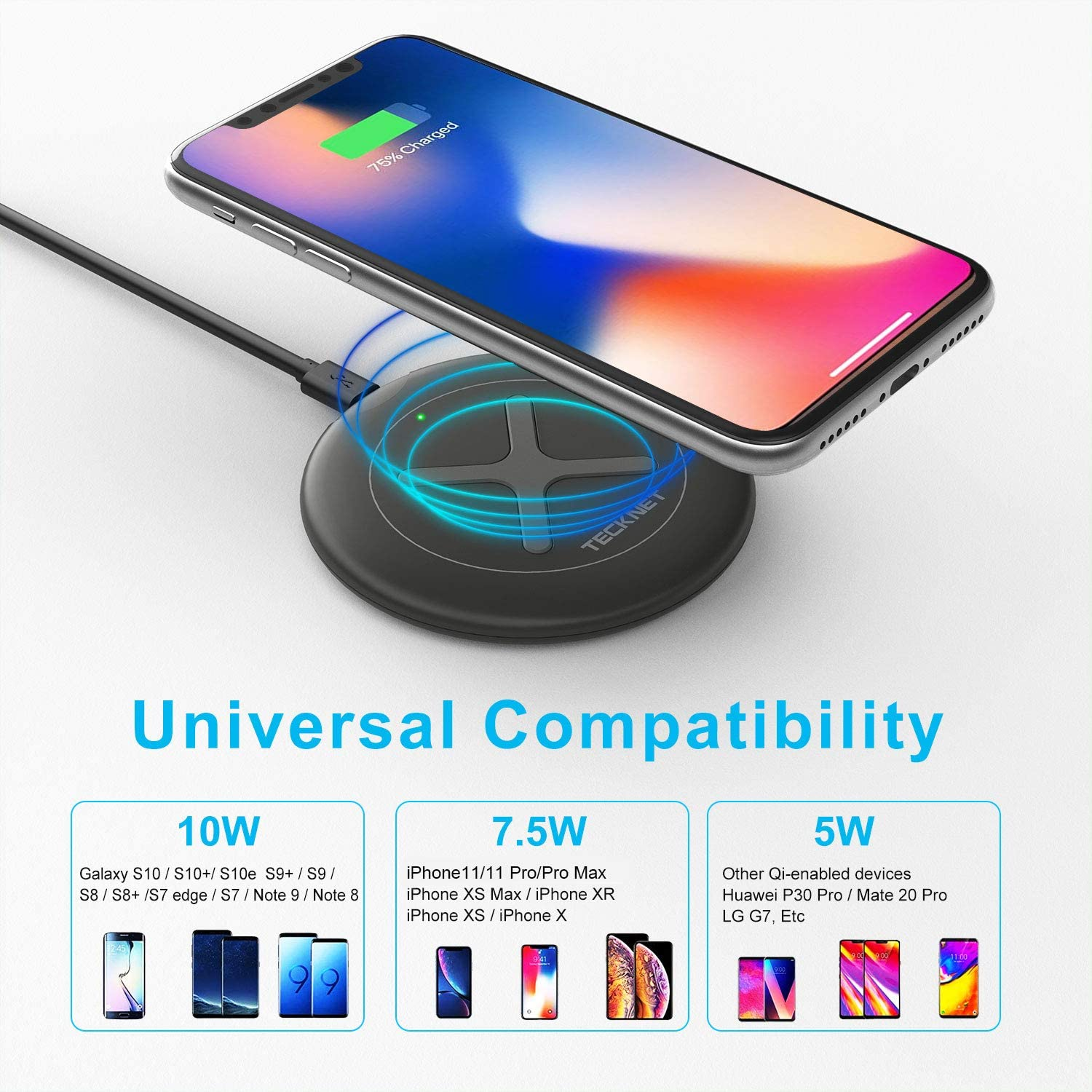 TECKNET Wireless Charger 10W/7.5W/5W Max Qi-Certified Fast Charging