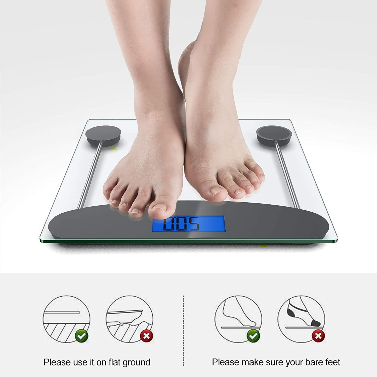 TechRise Digital Body Weight Scale 6mm Backlight Tempered Glass