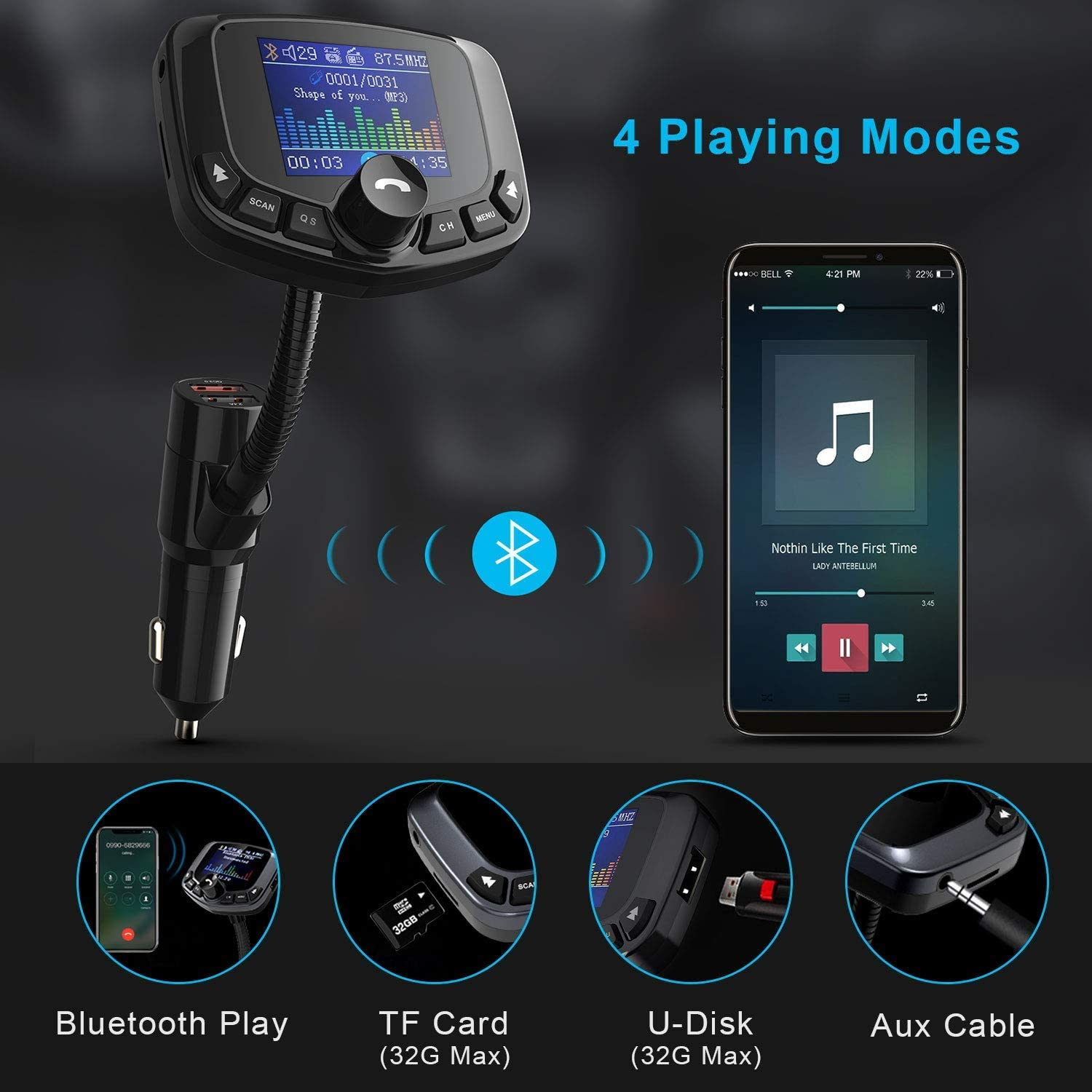 TECKNET Car Bluetooth FM Transmitter MP3 Player Kit with Dual USB Charger