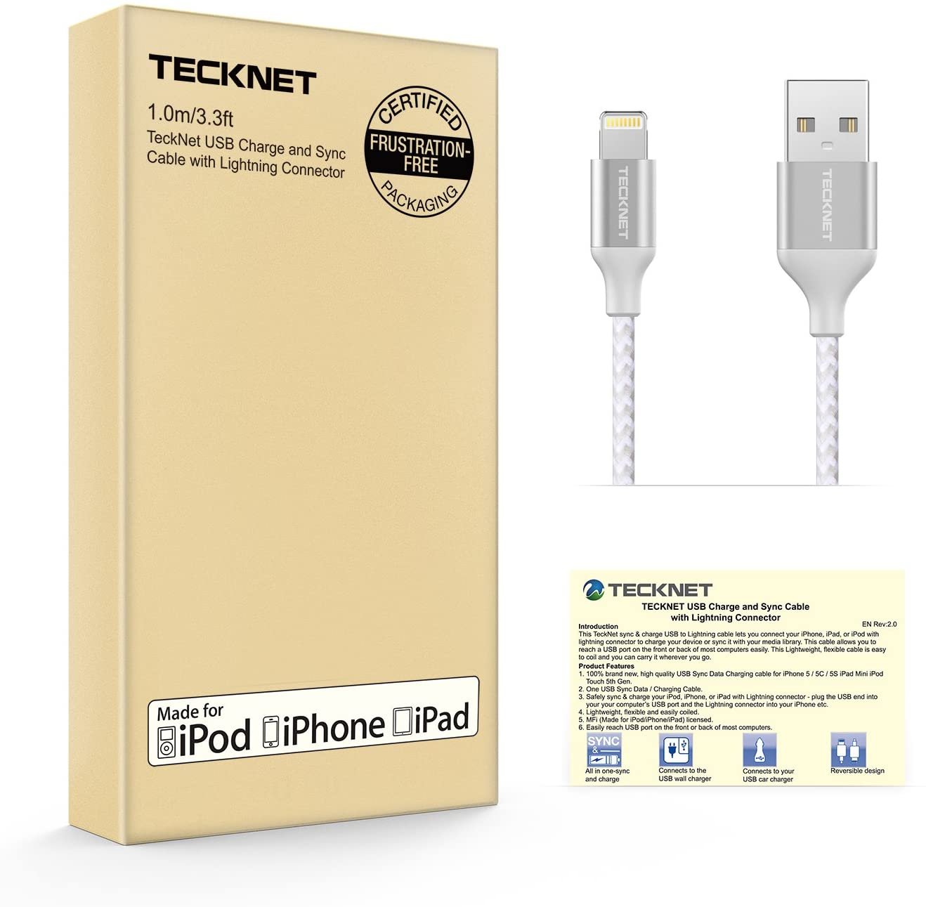 TeckNet PowerLink Lightning Cable (1M) MFI Certified Nylon Braided Lightning to USB Cable
