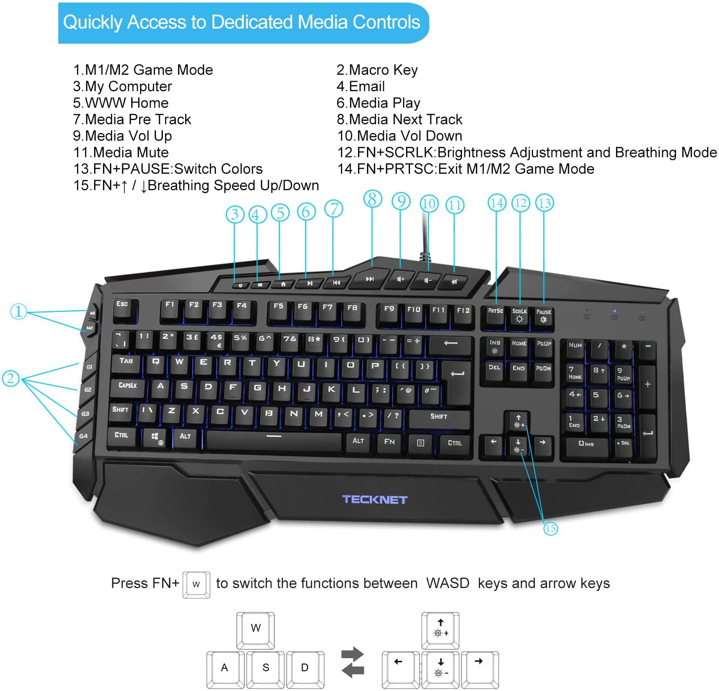 TECKNET Gaming Keyboard Rainbow LED Backlit Keyboard with Mouse Set