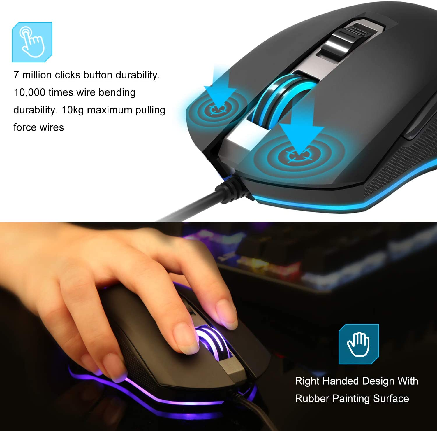 Tecknet 7200DPI Programmable Wired Gaming Mouse With 6 Buttons