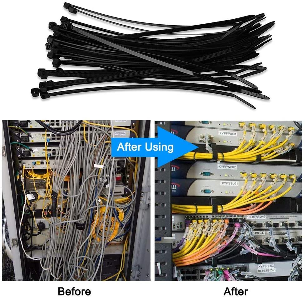 Aival 200Pcs Zip Cable Ties 200mm and 300mm Heat UV Resistant Cable