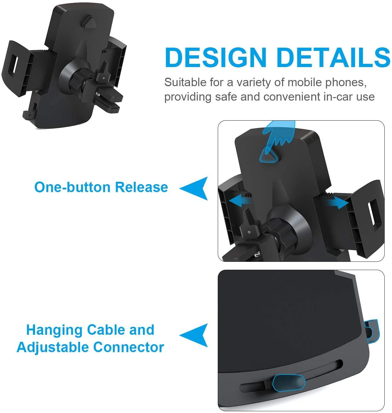 TechRise Car Phone Holder, Universal Air Vent Adjustable Phone Mount Car Cradle With One Button Release and 360° Rotation