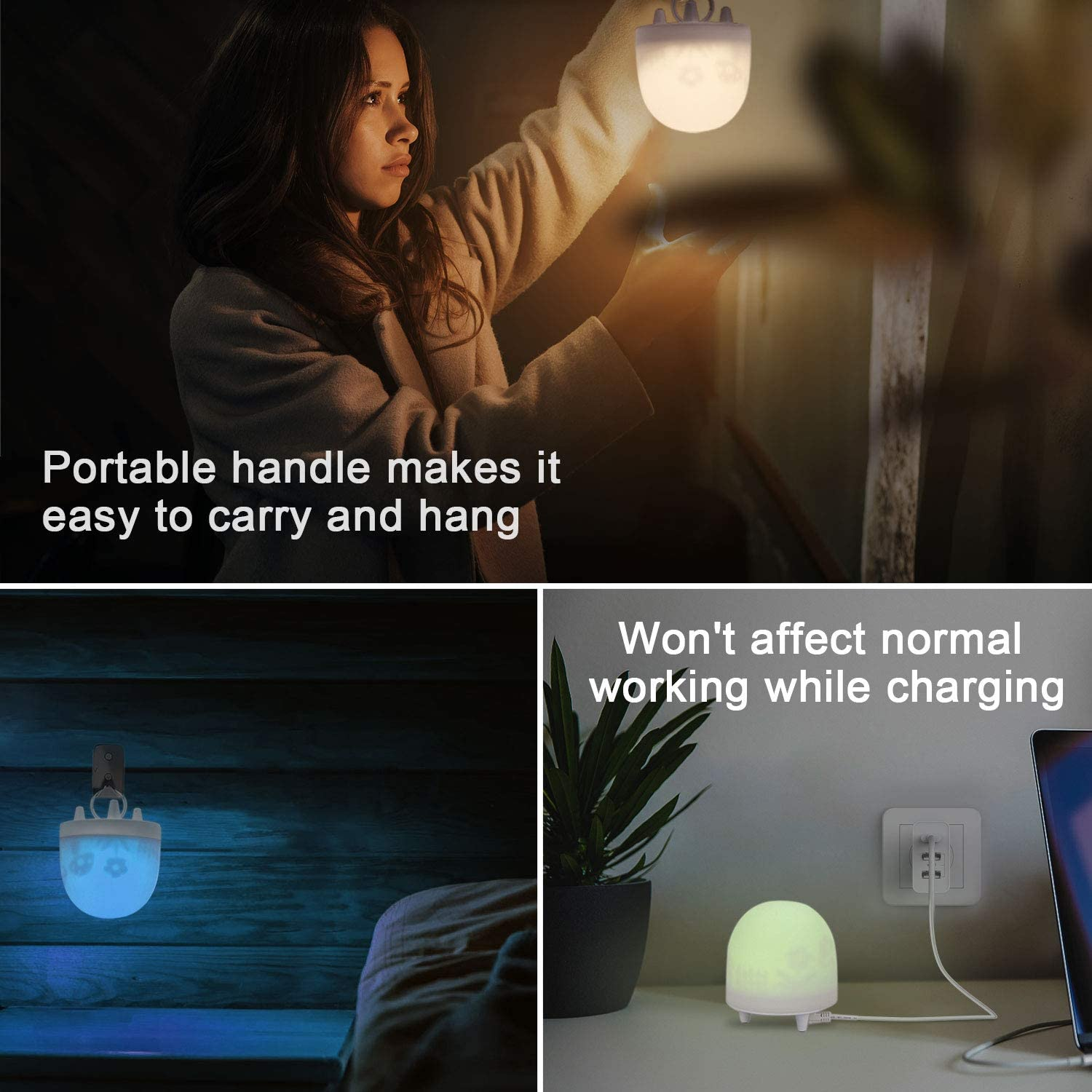 VOXON Portable Child LED Night Light Lamp with Touch Control LED 3 Color Adjustable