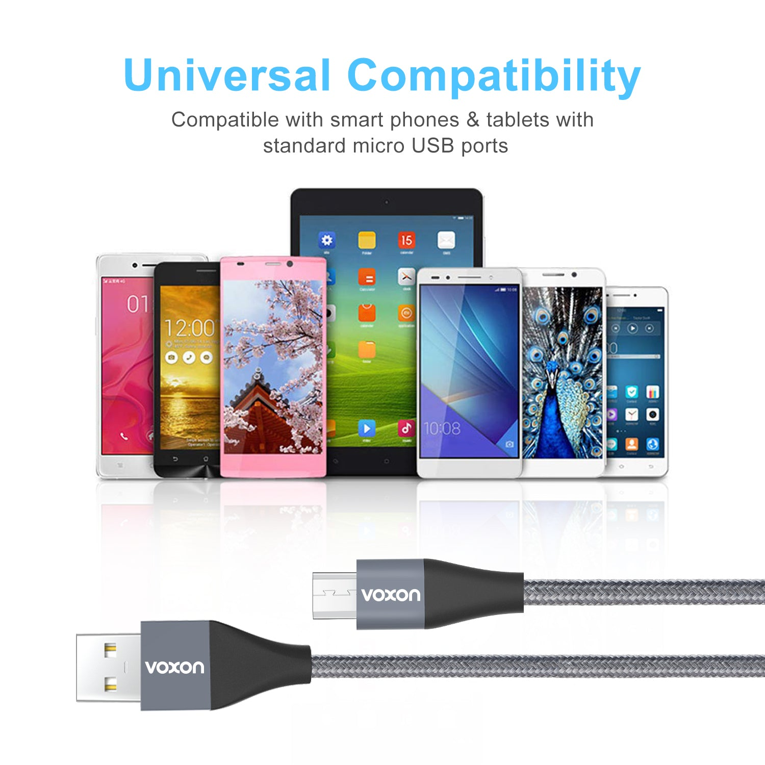 VOXON Micro USB Cable Charging Cable [4-Pack/1M*2, 1.5M, 2M]