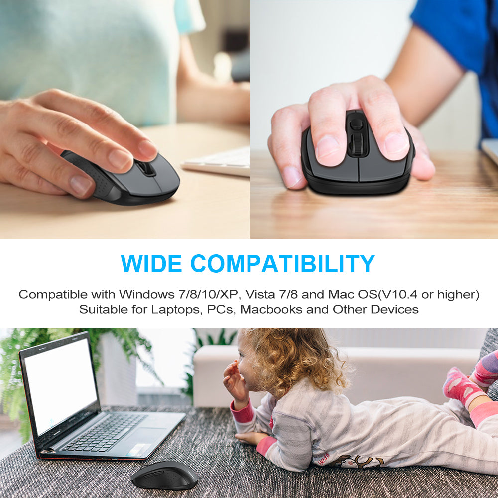 TECKNET Silent Wireless Mouse 2.4G USB Cordless Mice for PC