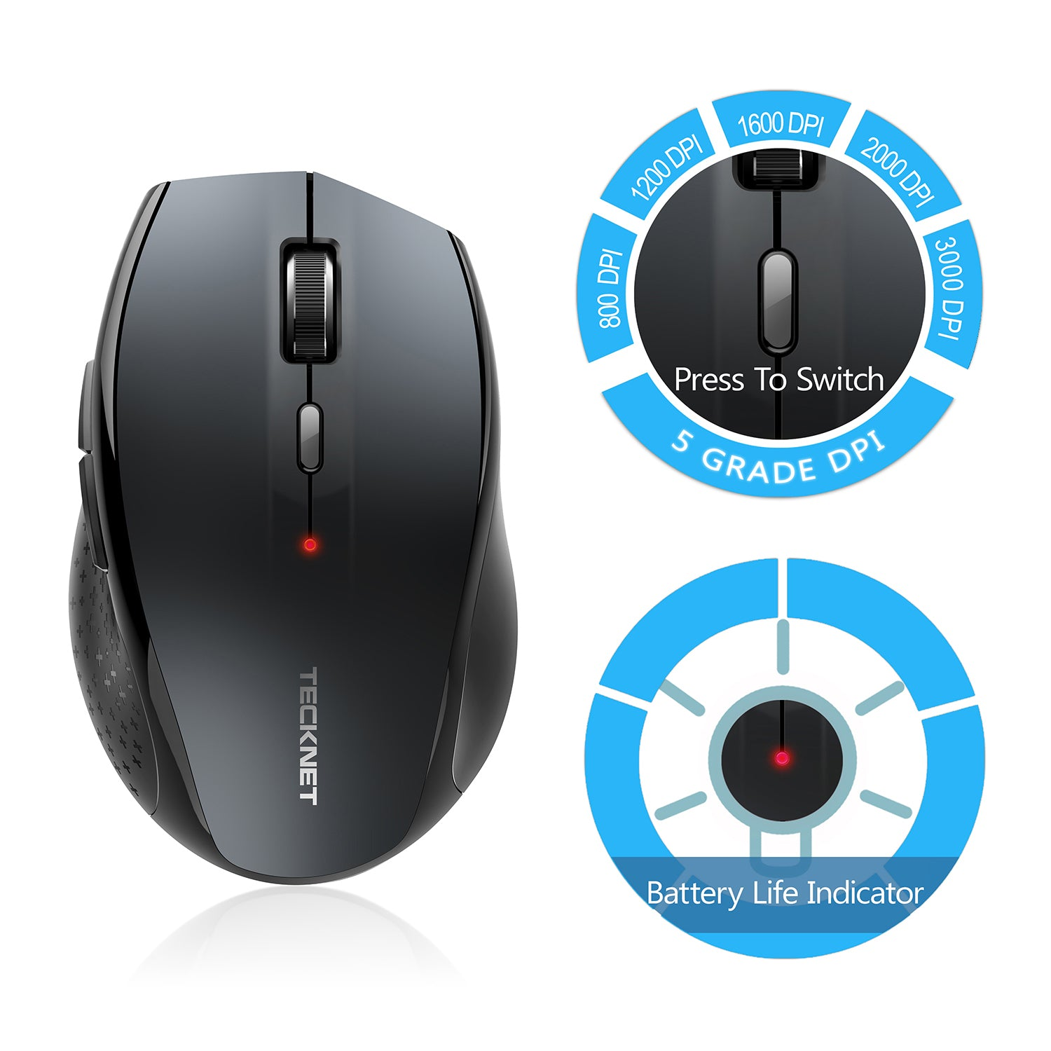 TECKNET Bluetooth Wireless Quiet Mouse for Office (BM308)
