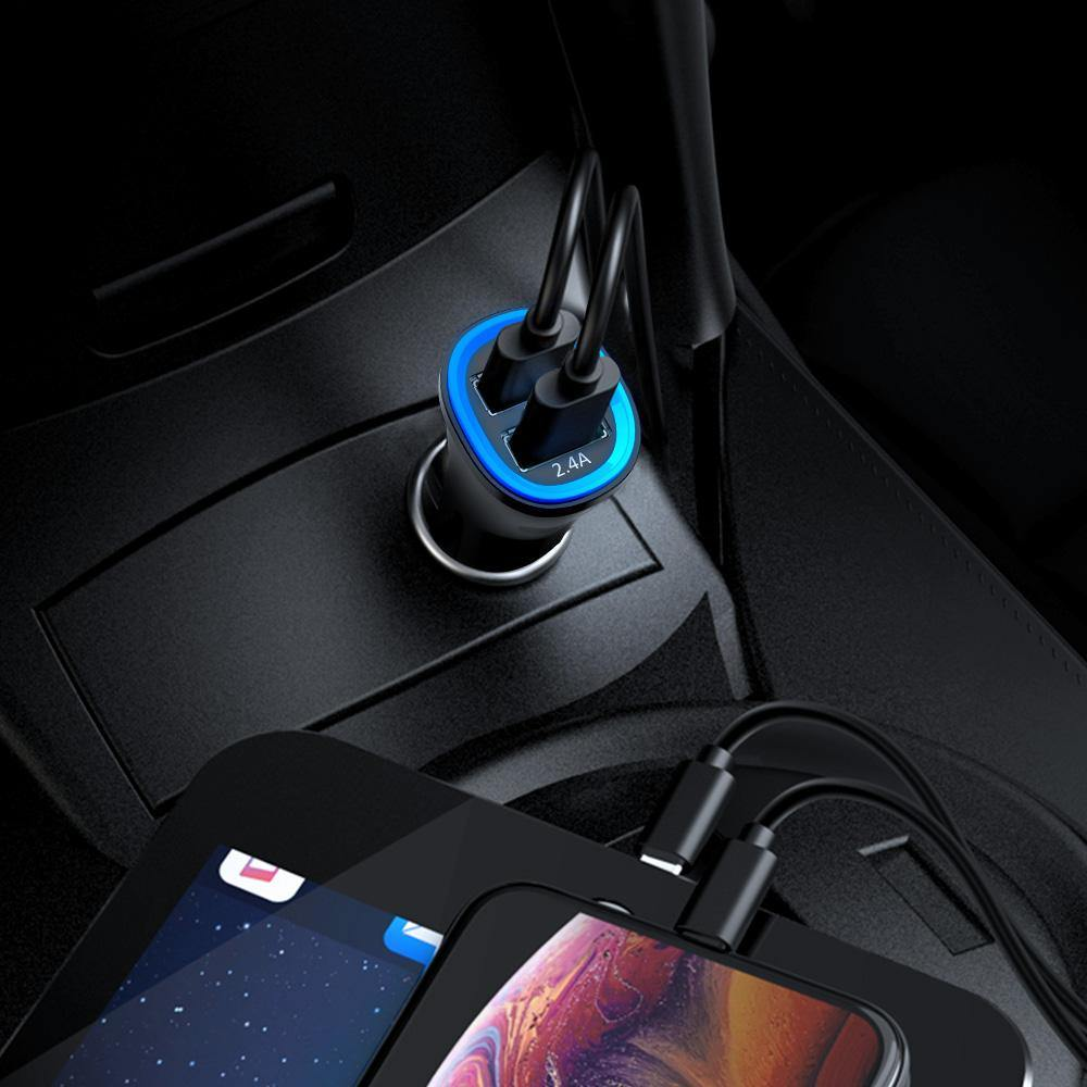TechRise 2 Port Dual USB Car Cigarette Charger with Smart Charging