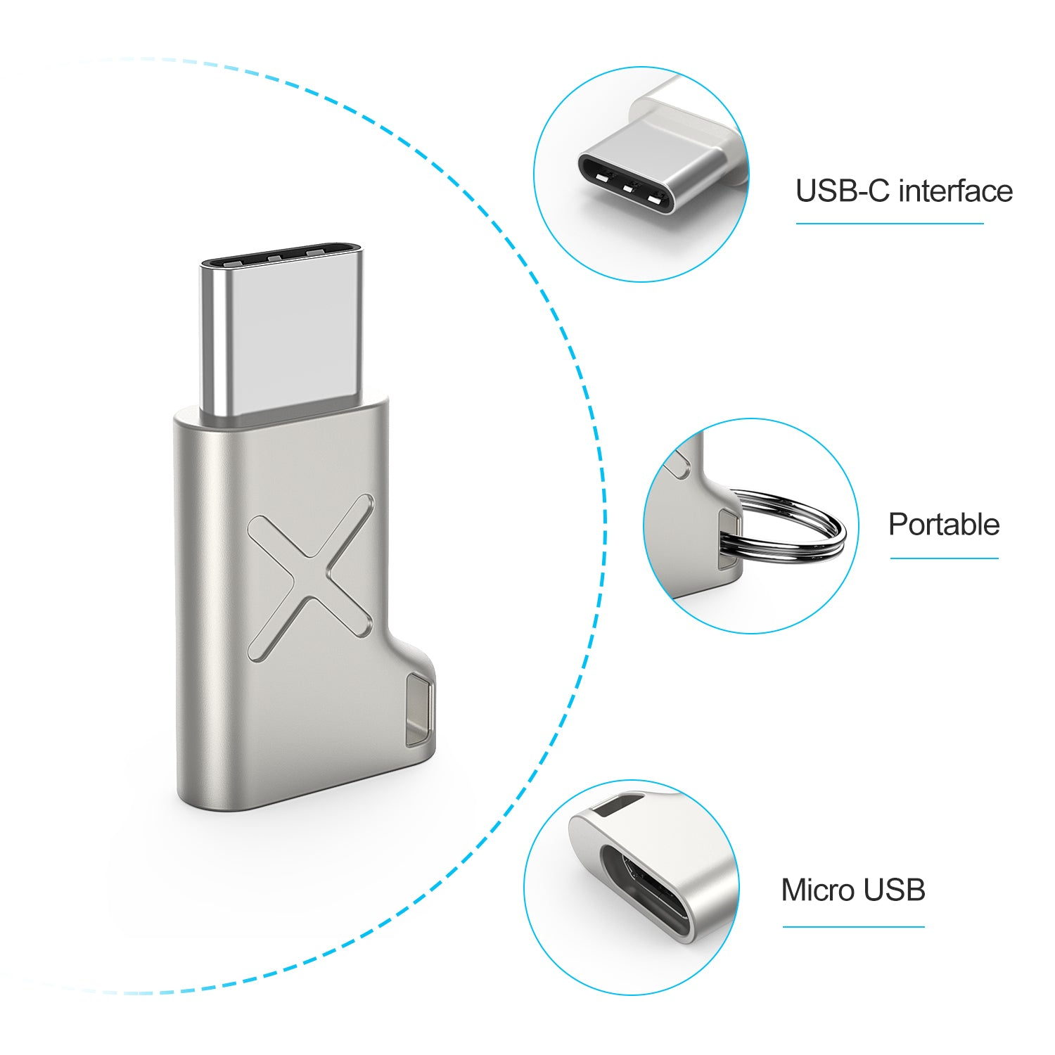 TechRise [3-Pack] USB-C to Micro USB Adapter