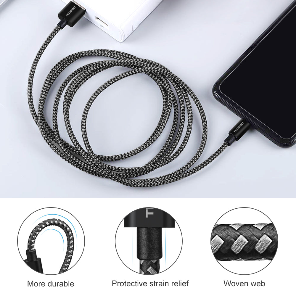 TECKNET 2.4A Micro USB Cable Charging Cable [2-Pack 1M+2M]