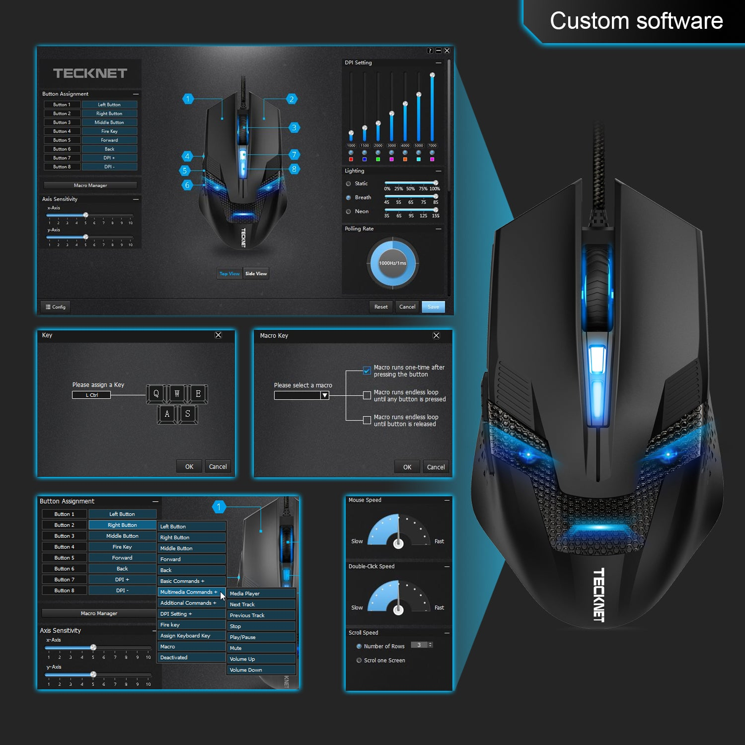 TeckNet RAPTOR Pro 7000 DPI Programmable Gaming Mice Mouse