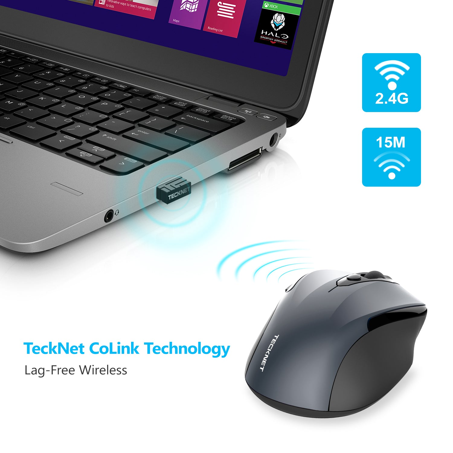 TECKNET Pro 2.4G 2600 DPI Wireless Mouse for Office Cordless Mice