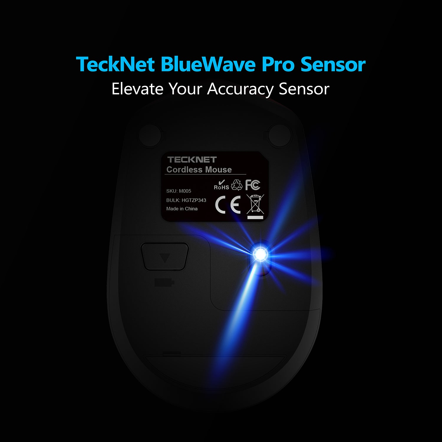TECKNET Omni Mini 2.4G Wireless Mouse, 2000 DPI, Nano Receiver