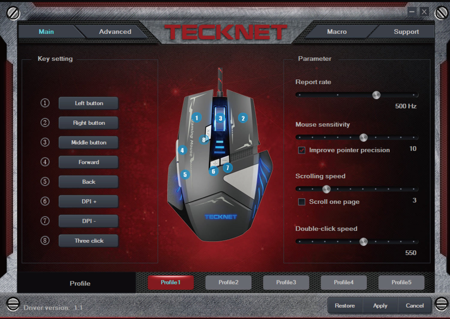TeckNet M008 Gaming Mouse-Black