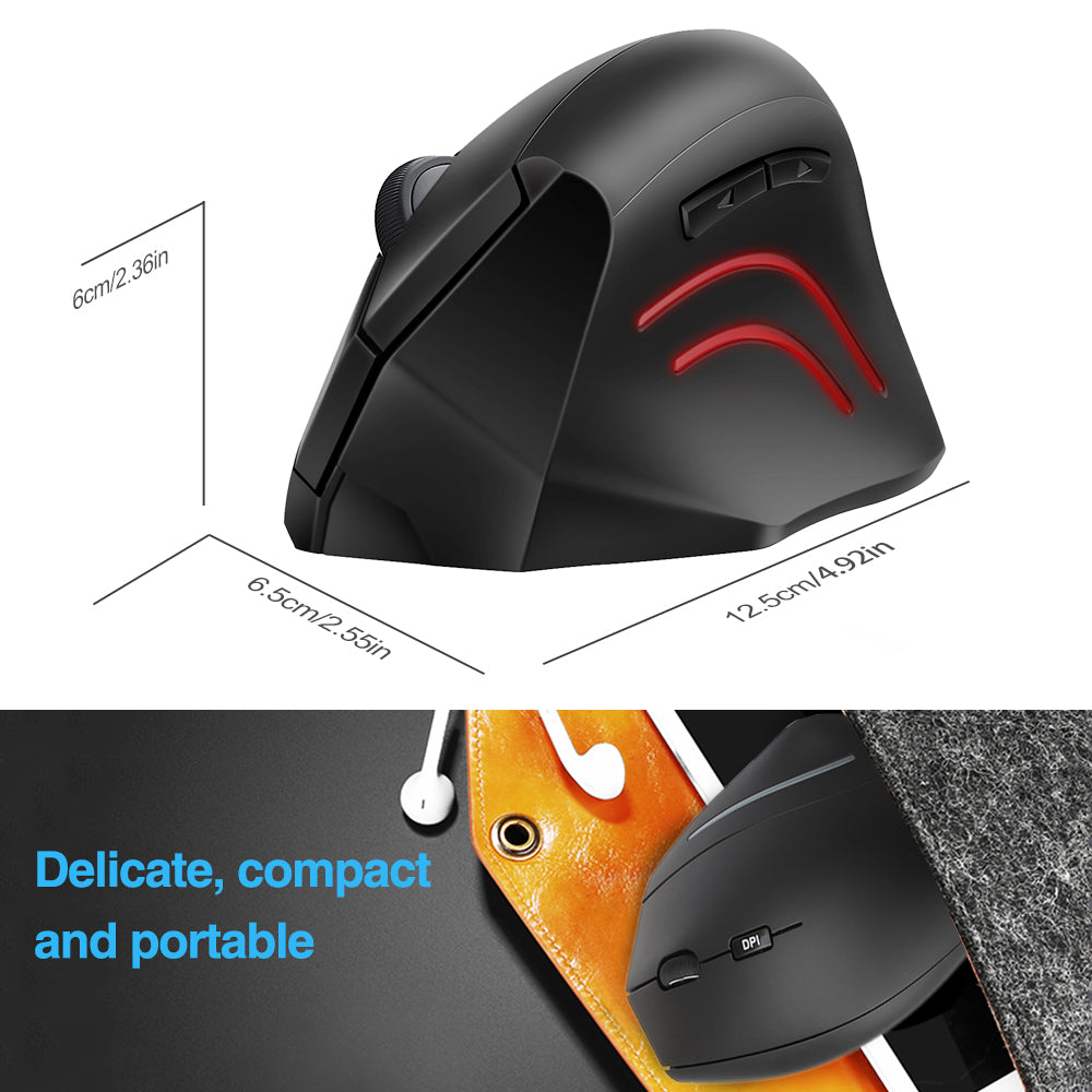 TECKNET 2.4G Vertical Wireless Mouse 800/1200/2000DPI, 6 Buttons