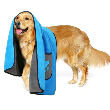 Zellar Pet Drying Towel Cat Dog Microfibre Bathrobe Bath Blanket - smartekbox