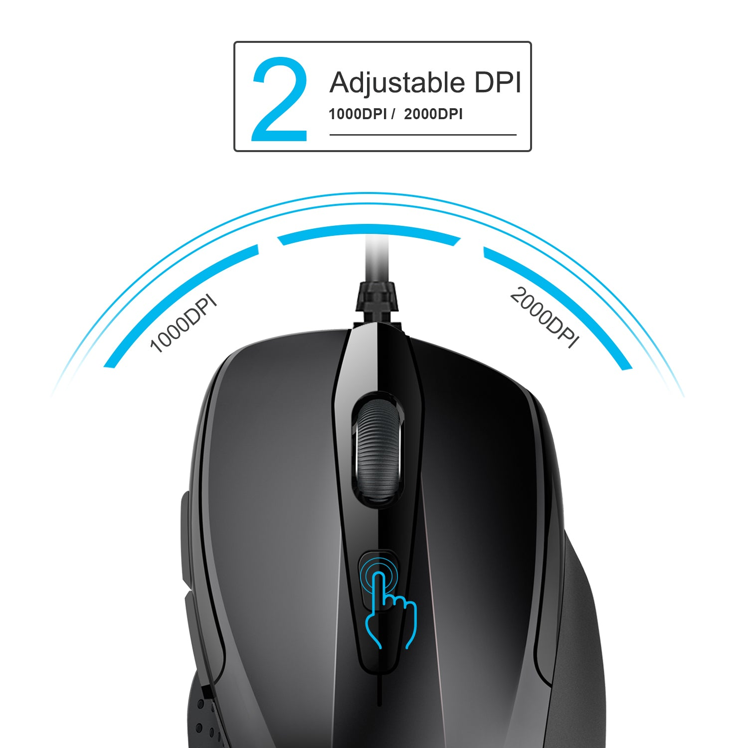 TECKNET Pro S2 2000dpi Wired USB Mouse, 6 Buttons