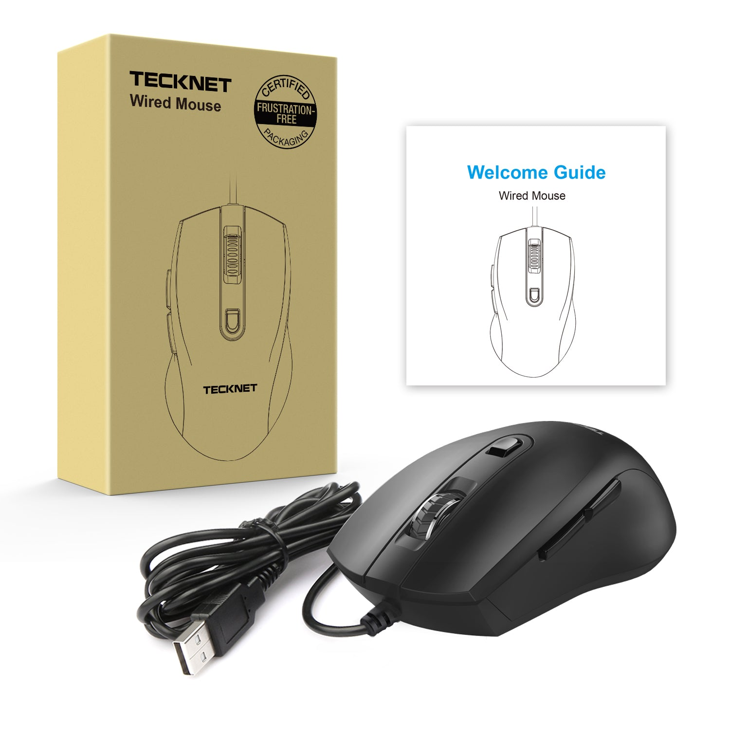 TECKNET Alpha S3 6 Button USB Wired Mouse Optical Mouse