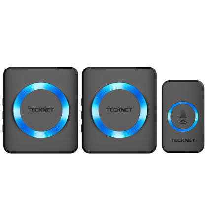 TECKNET Twin Waterproof Wireless Wall Plug-in Doorbell, 32 Chimes - smartekbox